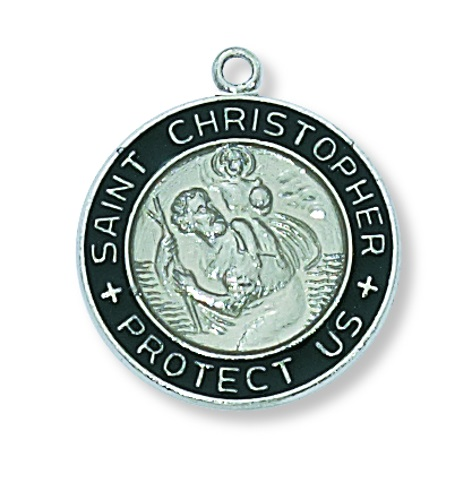 Saint Medal St Christopher 3/4 inch Sterl Silver Pendant Black