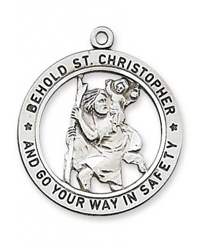 Saint Medal St Christopher 1 inch Sterling Silver Pendant Cut