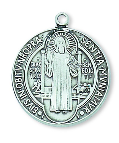 Saint Benedict Medal 1 inch Sterling Silver Pendant