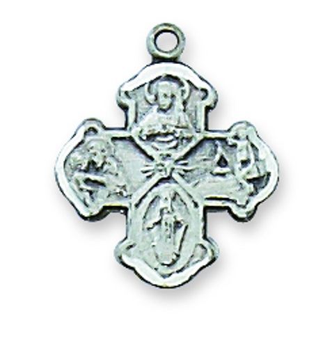 Four Way Medal Budded 1/2 inch Sterling Silver Pendant