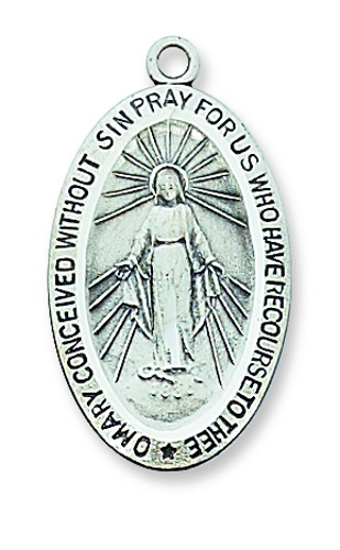 Miraculous Medal 3/4 inch Sterling Silver Pendant