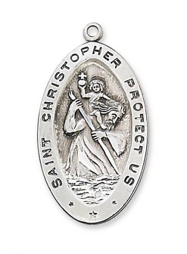 Saint Medal St Christopher 1.25 inch Sterling Silver Pendant