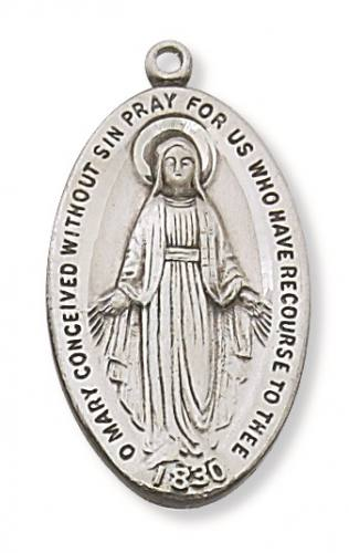 Miraculous Medal 1.25 inch Sterling Silver Pendant