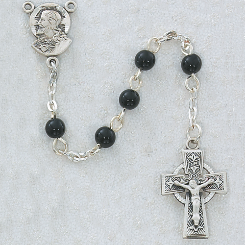 Rosary Baptism Sacred Heart Celtic Pewt Silver Black Glass Beads