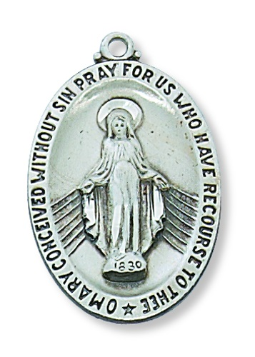 Miraculous Medal 1 inch Sterling Silver Pendant