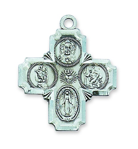 Four Way Medal Cross 1 inch Sterling Silver Pendant