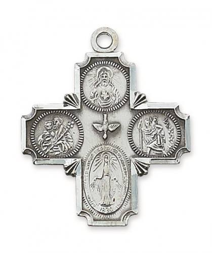 Four Way Medal Cross 1.5 inch Sterling Silver Pendant
