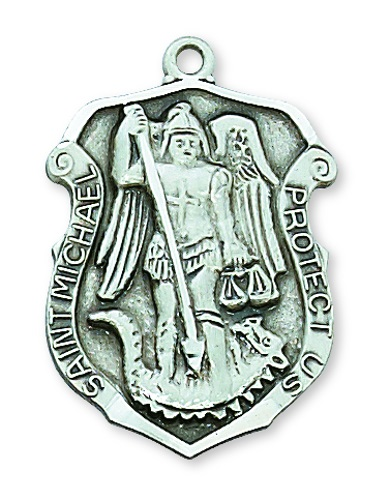 Shield Medal St Michael Archangel Police 1.25 inch Sterl Silver