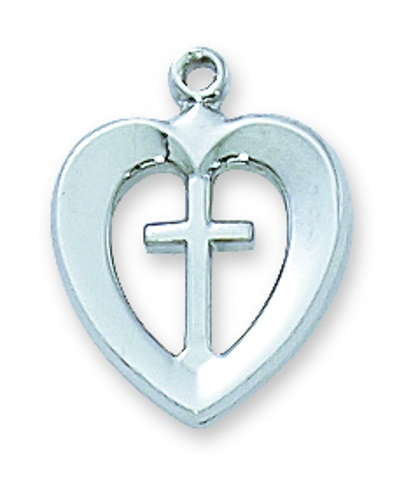 Cross Pendant Heart 1/2 inch Sterling Silver
