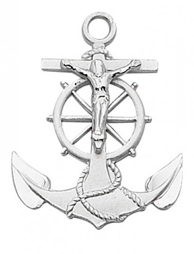 Crucifix Pendant Anchor 1 inch Sterling Silver