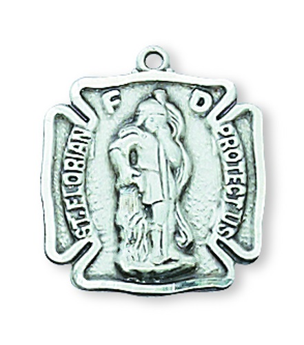 Shield Medal St Florian Firefighter 5/8 inch Ster Silver Pendant