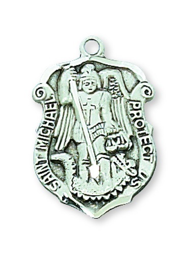 Shield Medal St Michael Archangel Police 3/4 inch Sterl Silver