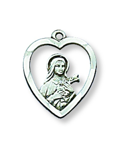 Saint Medal St Therese Lisieux Heart 1/2 inch Sterling Silver