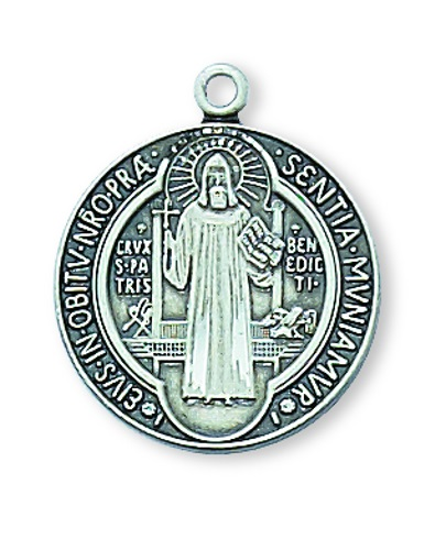 Saint Benedict Medal 3/4 inch Sterling Silver Pendant