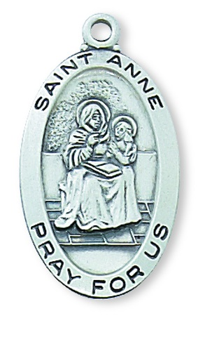 Saint Medal St Anne 7/8 inch Sterling Silver Pendant