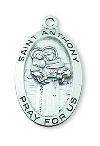 Saint Medal St Anthony of Padua 7/8 inch Sterling Silver Pendant