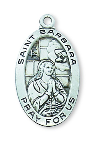 Saint Medal St Barbara 7/8 inch Sterling Silver Pendant