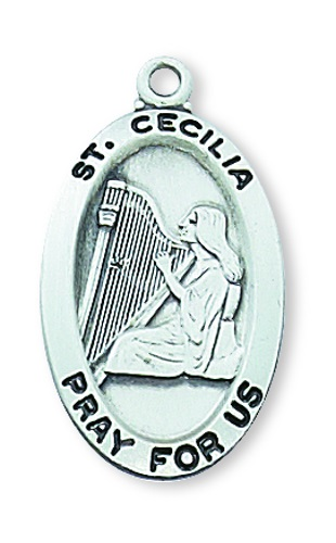 Saint Medal St Cecilia 7/8 inch Sterling Silver Pendant