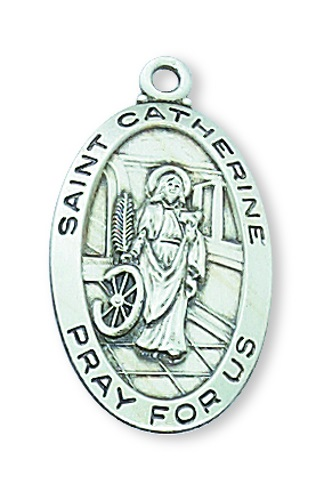 Saint Medal St Catherine Alexandria 7/8 inch Ster Silver Pendant