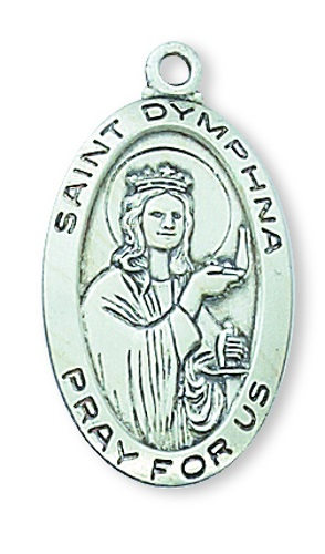 Saint Medal St Dymphna 7/8 inch Sterling Silver Pendant