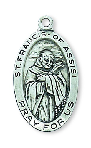 Saint Medal St Francis Assisi 7/8 inch Sterling Silver Pendant