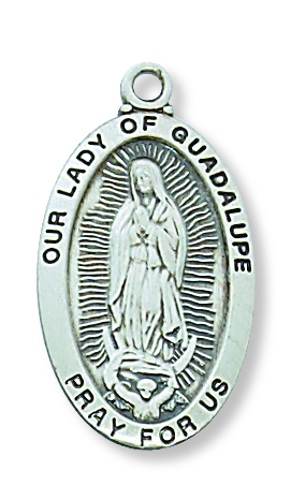 Mary Medal Our Lady Guadalupe 7/8 inch Sterling Silver Pendant