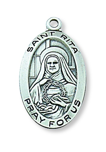 Saint Medal St Rita of Cascia 7/8 inch Sterling Silver Pendant