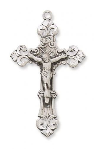 Crucifix Pendant Fancy 1.75 inch Sterling Silver
