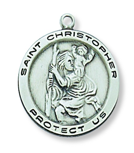 Saint Medal St Christopher 3/4 inch Sterling Silver Pendant