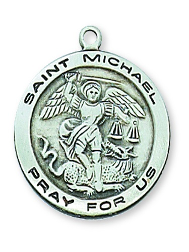 Saint Medal St Michael Archangel 3/4 inch Sterl Silver Pendant