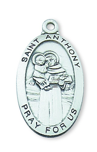 Saint Medal St Anthony of Padua 1 inch Sterling Silver Pendant