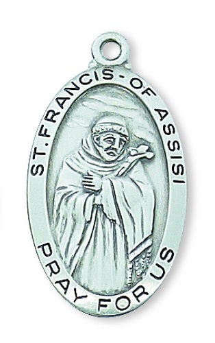Saint Medal St Francis Assisi 1 inch Sterling Silver Pendant