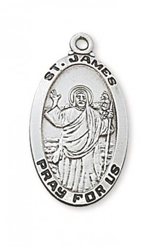 Saint Medal St James the Less 1 inch Sterling Silver Pendant