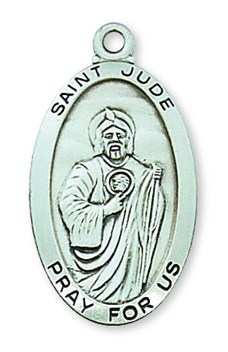 Saint Medal St Jude Thaddeus 1 inch Sterling Silver Pendant