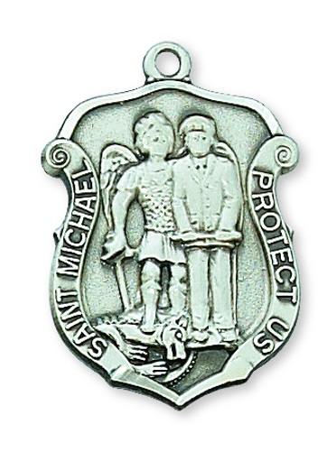 Shield Medal St Michael Archangel Police 1 inch Sterling Silver