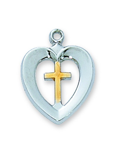 Cross Pendant Heart 1/2 inch Sterling Silver Tutone