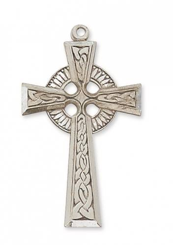 Cross Pendant Celtic 1.75 inch Sterling Silver