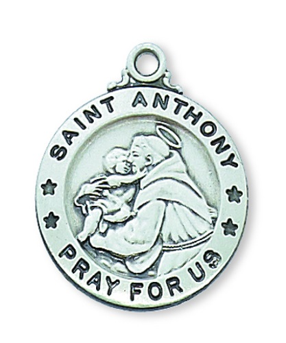 Saint Medal St Anthony of Padua 3/4 inch Sterling Silver Pendant