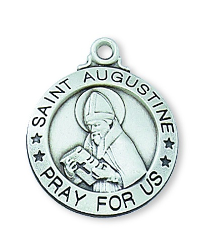 Saint Medal St Augustine Hippo 3/4 inch Sterling Silver Pendant