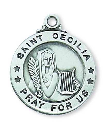 Saint Medal St Cecilia 3/4 inch Sterling Silver Pendant