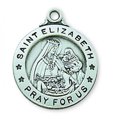 Saint Medal St Elizabeth of Hungary 3/4 inch Ster Silver Pendant