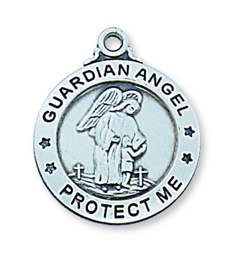 Guardian Angel Medal 3/4 inch Sterling Silver Pendant