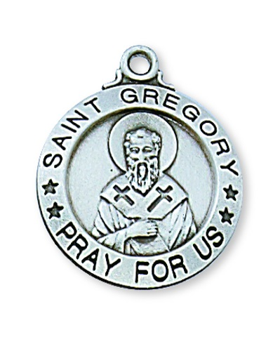 Saint Medal St Gregory Great 3/4 inch Sterling Silver Pendant