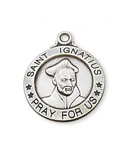 Saint Medal St Ignatius Loyola 3/4 inch Sterling Silver Pendant