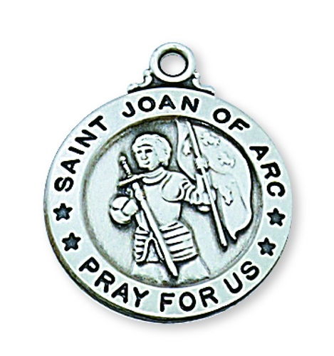Saint Medal St Joan of Arc 3/4 inch Sterling Silver Pendant