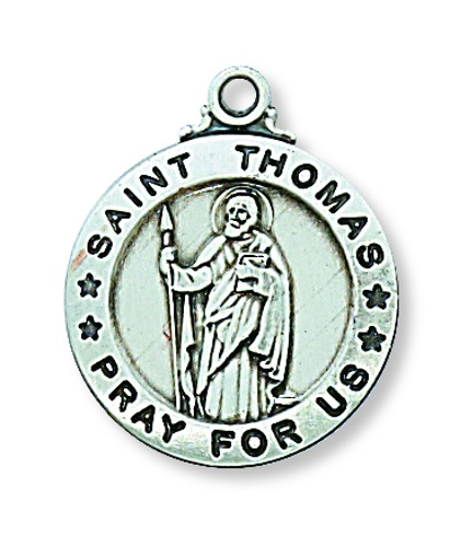 Saint Medal St Thomas Apostle 3/4 inch Sterling Silver Pendant