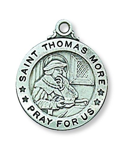 Saint Medal St Thomas More 3/4 inch Sterling Silver Pendant