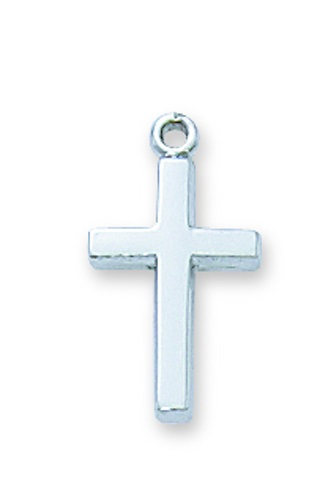 Cross Pendant Simple 1/2 inch Sterling Silver