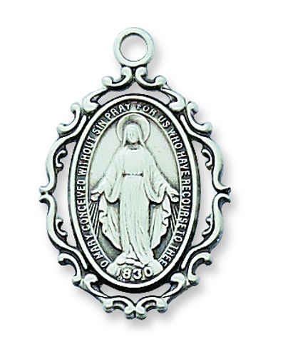 Miraculous Medal 7/8 inch Sterling Silver Pendant