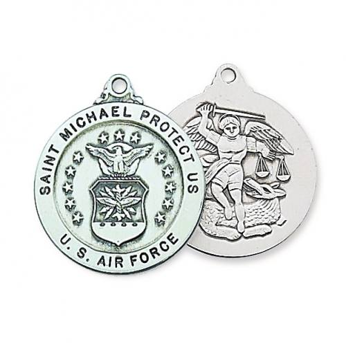 Military Medal St Michael US Airforce 1 inch Ster Silver Pendant